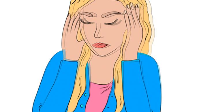 Girl with headache illustration