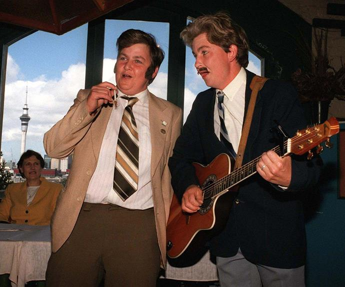 The Topps in the '90s, performing as Ken and Ken at a Labour Party event - yes, that is Helen Clark in the background.