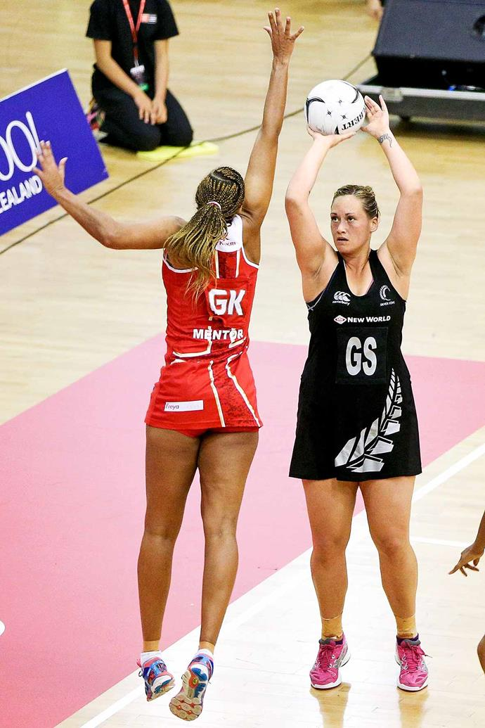 Cathrine in action for the Silver Ferns. *Image: Getty*