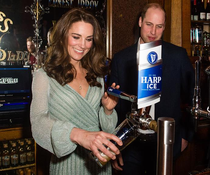 kate middleton pours beer