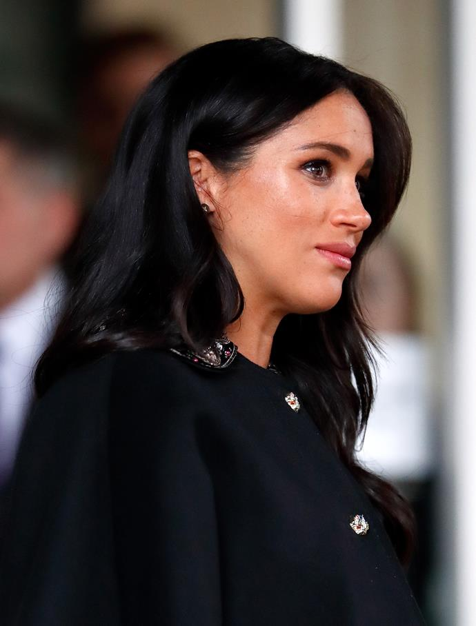In the advert Meghan's character is seen to be conspiring with her half-brother to steal from the royal family. *(Image: Getty)*