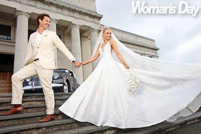 The lovebirds on the steps of the Auckland War Memorial Museum, a mystery destination for their guests. *Photo: Robert Trathen*
