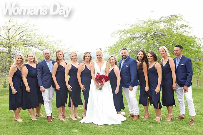 Erin's bride tribe (from left) Amanda Wignell, Rachel Kennedy, Michael Simpson, Anna Graham, Lisa Meaclem, Catherine Cable, Kelley Kerr Young, David Johnson, Kay and Kim Rodgers, and Aimee and Boyd Scott. *Photo: Robert Trathen*