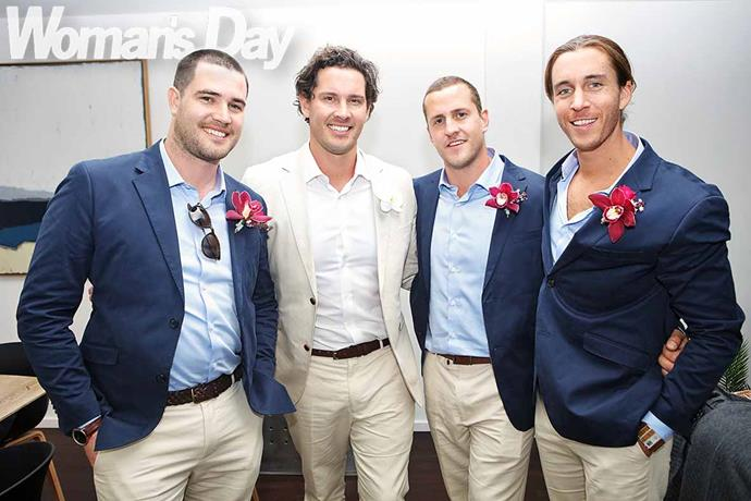 The groomsmen (from left) Anthony Chapman, Zac's brother Jed and John Cosgrove. *Photo: Robert Trathen*
