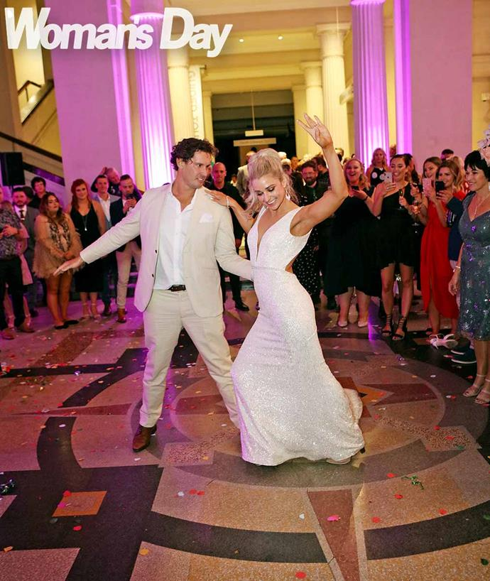 The happy couple perform their first dance to Six60's *Someone to be Around*. *Photo: Robert Trathen*