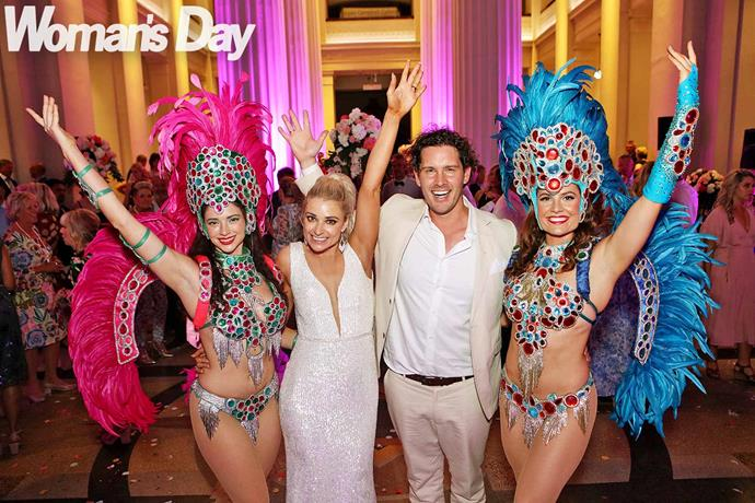 Brazilian samba dancers kept the party spirit alive. *Photo: Robert Trathen*