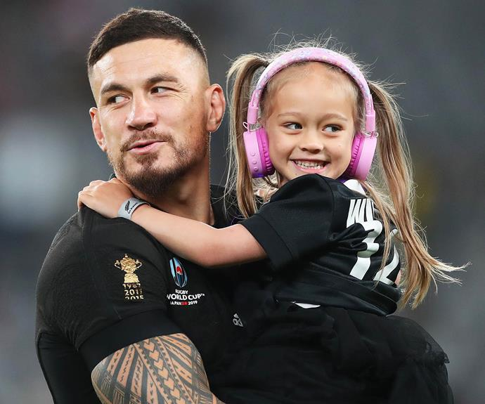 Sonny Bill and daughter Imaan after the World Cup third/fourth playoff against Wales - his last game for the All Blacks. *Image: Getty*