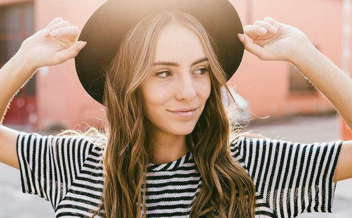 woman sunlight long brown hair