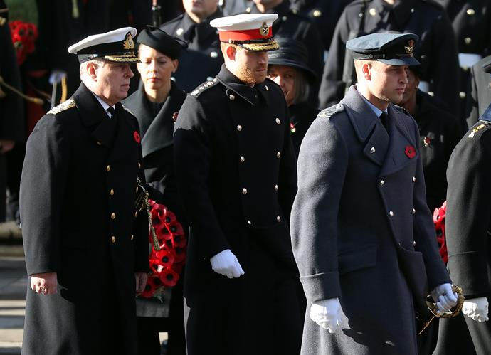 Prince Andrew, Prince Harry and Prince William during the Remembrance Sunday service. *(Image: Getty)*