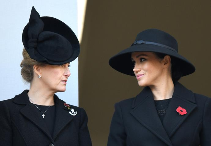 Meghan joined the Queen's daughter-in-law and wife to Prince Edward, Sophie, Countess of Wessex for the Remembrance Sunday service. *(Image: Getty)*