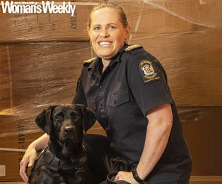 Customs officer Debbie Baldock and dog Ash