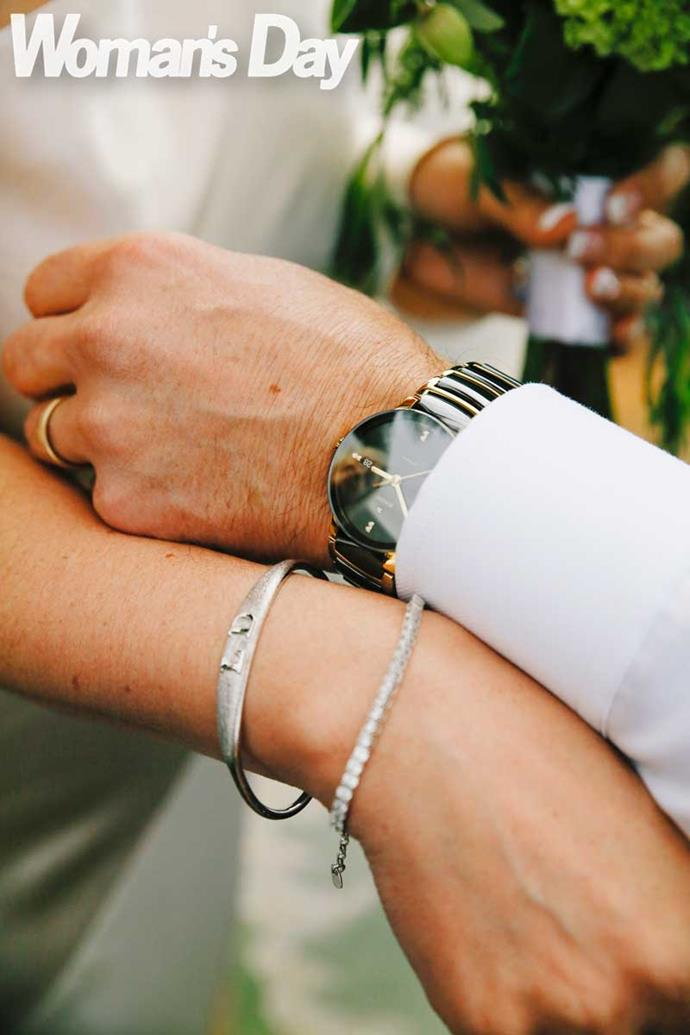The bride and groom gifted each other jewellery.