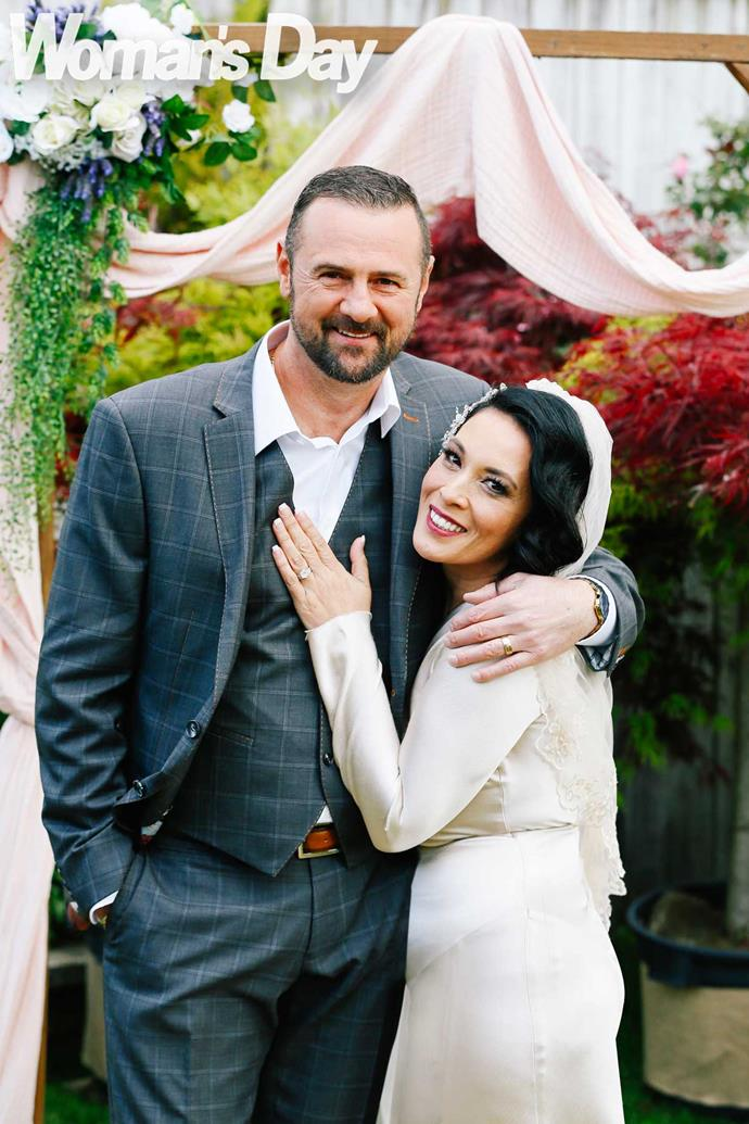 """Simon and Liana, who has battled cancer, have healed each other. """"I'm pretty brutally scarred and he loves who I am,"""" she says."""