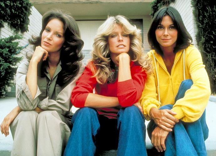 Charlie's original Angels Jacyln Smith, Farrah Fawcett and Kate Jackson