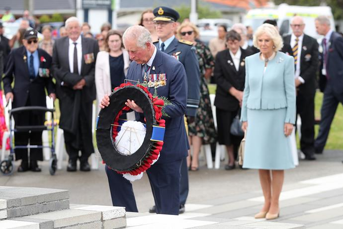 Prince Charles lays a wreath on the Cenotaph at the Mt Roskill War Memorial on Monday morning. *(Image: Getty)*