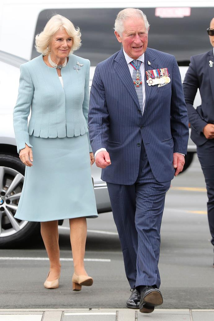 Duchess Camilla looked chic in a light blue two-piece outfit said to be by Bruce Oldfield. *(Image: Getty)*