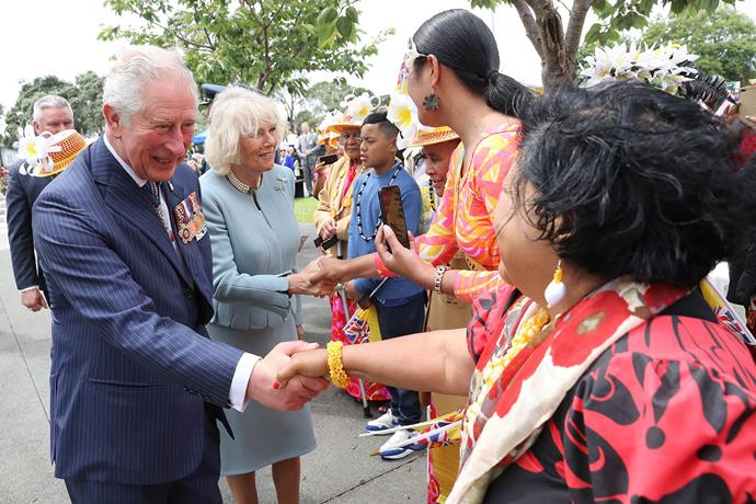 Prince Charles and Duchess Camilla met with people from the community and servicemen and women from the NZ Army, Navy and Air Force. *(Image: Getty)*