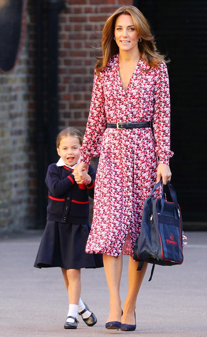Duchess Catherine accompanies Princess Charlotte to her first day at Thomas's Battersea school.