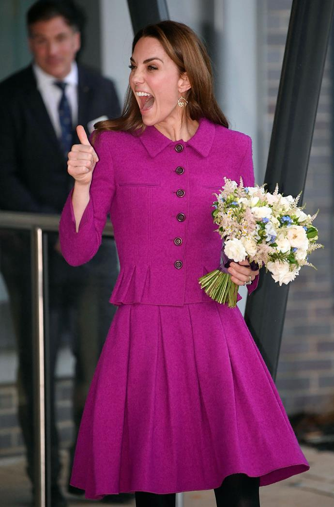 Duchess Catherine gives a thumbs up to the crowd as she leaves The Nook. *(Image: Getty)*