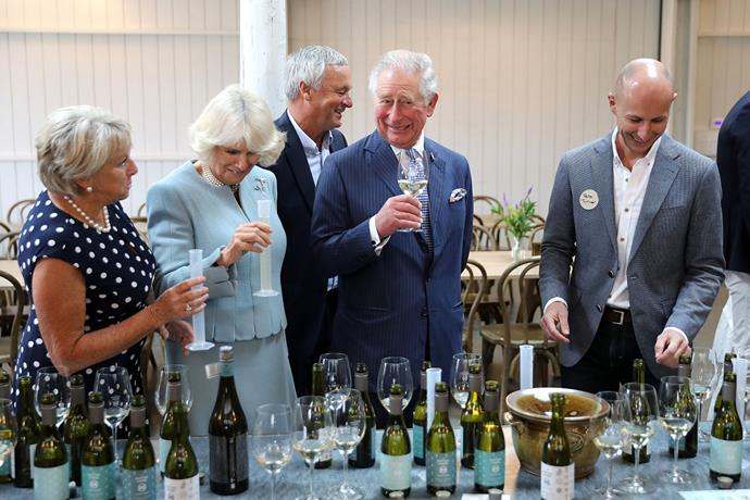 Prince Charles and Camilla attend a wine tasting and make a blend of their own. *(Image: Getty)*