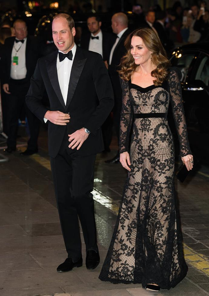 Prince William and Duchess Catherine oozed glam for the Royal Variety Performance at London's Palladium Theatre. *(Image: Getty)*