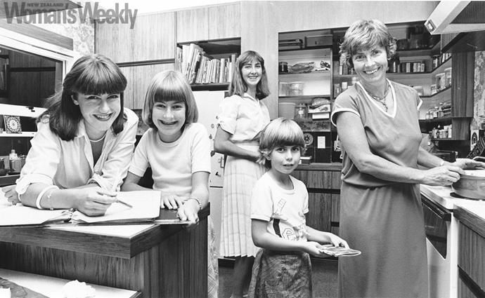 Maria (far right) and Jim's daughters (from left) Kathryn, Philippa, Elizabeth and Adrienne in 1981.