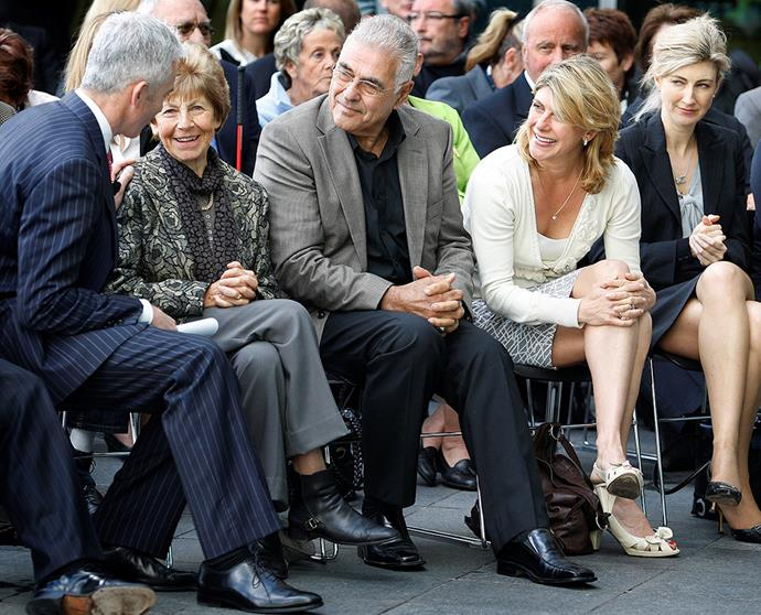 Then Air New Zealand chief executive Rob Fyfe chats with Maria, Tonci Farac (whose partner, Sue, also died aboard the flight), Kathryn and Philippa at the public apology and unveiling of a memorial to the Erebus victims in 2009.