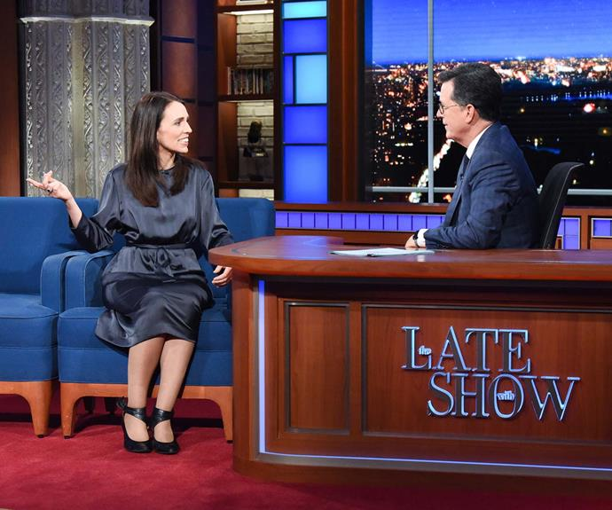 Ardern on The Late Show with Stephen Colbert in September this year.