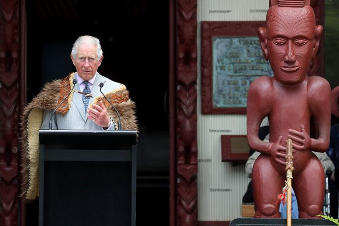 Prince Charles addresses the crowd at the Waitangi Treaty Grounds on Wednesday. *(Image: Getty)*