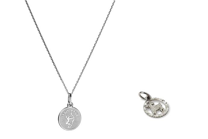 The Suetables' Vanessa Coin necklace (left) and Shirley Zodiac pendant which Meghan wore earlier this month. *(Image: Suetables)*