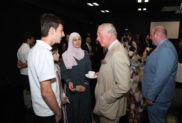 Prince Charles visits Cashmere High in Christchurch, meeting with victims of the mosque terror attacks on March 15. *(Image: Getty)*