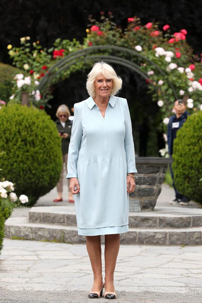 Duchess Camilla visited the Christchurch Botanic Gardens on her final day in New Zealand. *(Image: Getty)*
