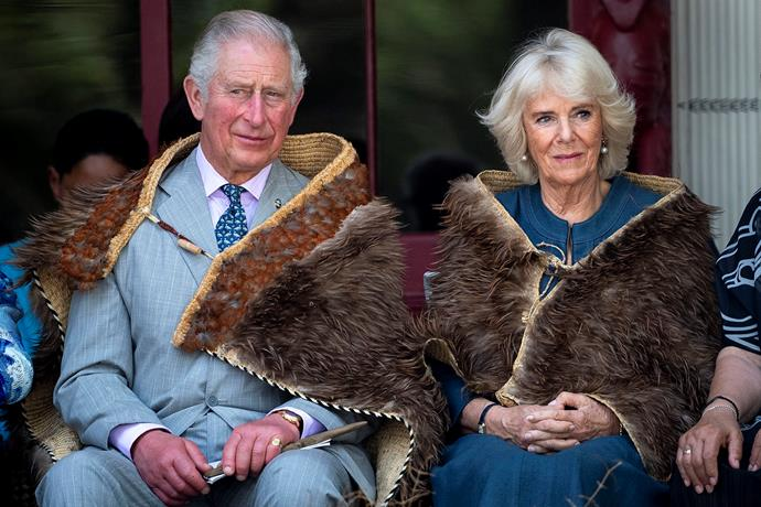 Prince Charles and Duchess Camilla at the historic Waitangi Treaty Grounds in the Bay of Islands, New Zealand. *(Image: Getty)*