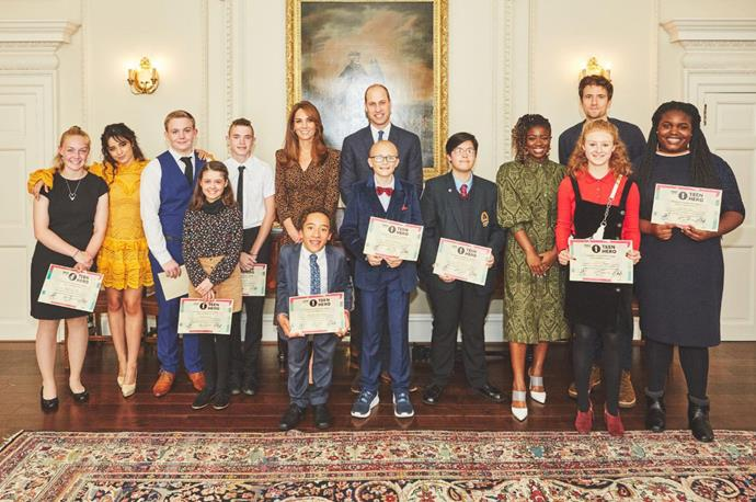 Camila Cabello (second to left) and Greg James (second to right) at Kensington Palace as part of Radio 1's Teen Heroes celebration. *(Image: Twitter/@KensingtonRoyal)*
