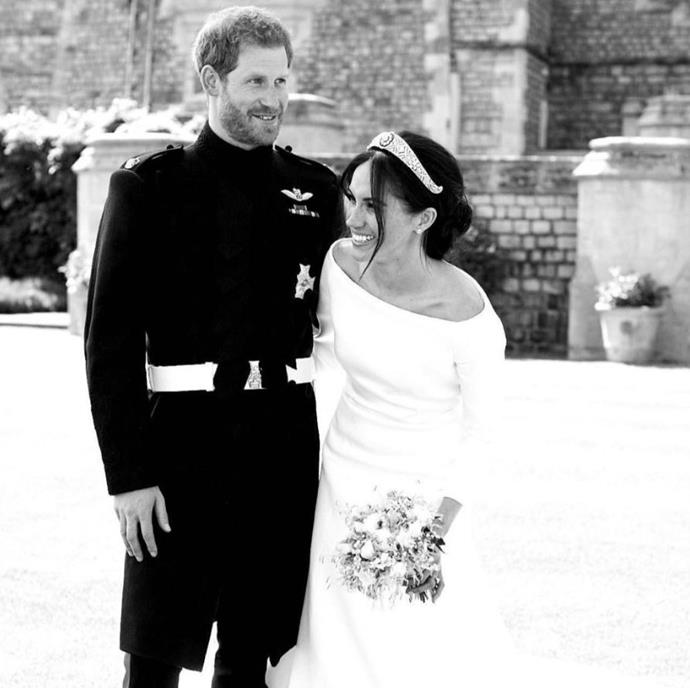 Meghan and Harry shared a gorgeous, previously unseen image of themselves on their wedding day. *(Image: Chris Allerton)*