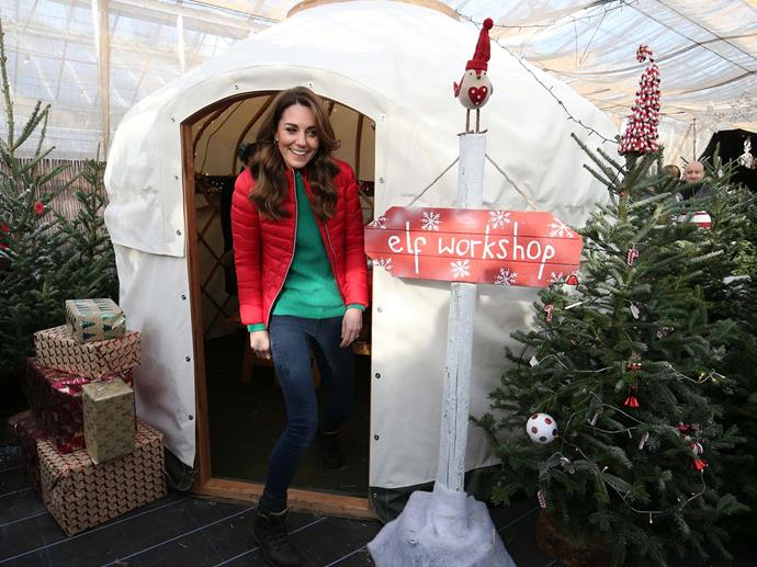 Kate joined children making Christmas decorations and eco-friendly reindeer food. *(Image: Getty)*