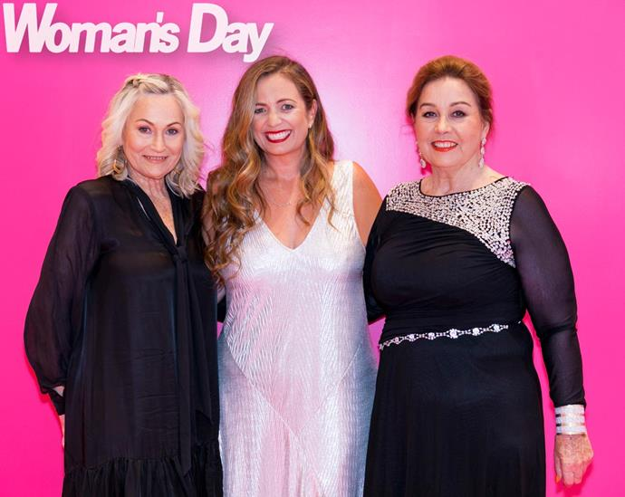 Lucky ladies Angela (left) and Mary shine alongside *Woman's Day* Editor-in-Chief Sido Kitchin.