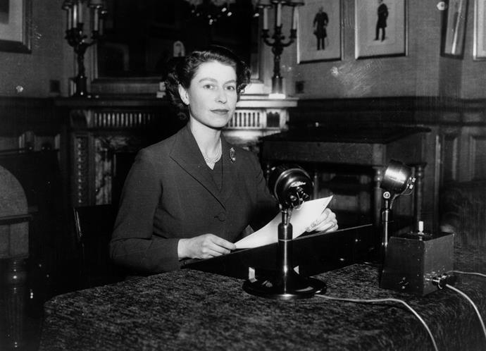 Five years before her first televised broadcast, Queen Elizabeth made her first Christmas broadcast over radio as Queen. *(Image: Getty)*