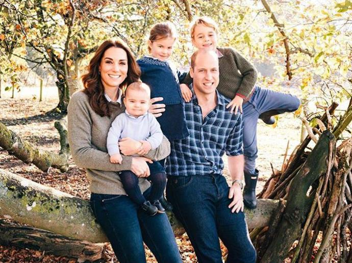 Last year Prince Louis made his royal Christmas card debut, in this remarkable casual yet adorable photograph of the Cambridges at their country home Anmer Hall in Norfolk.