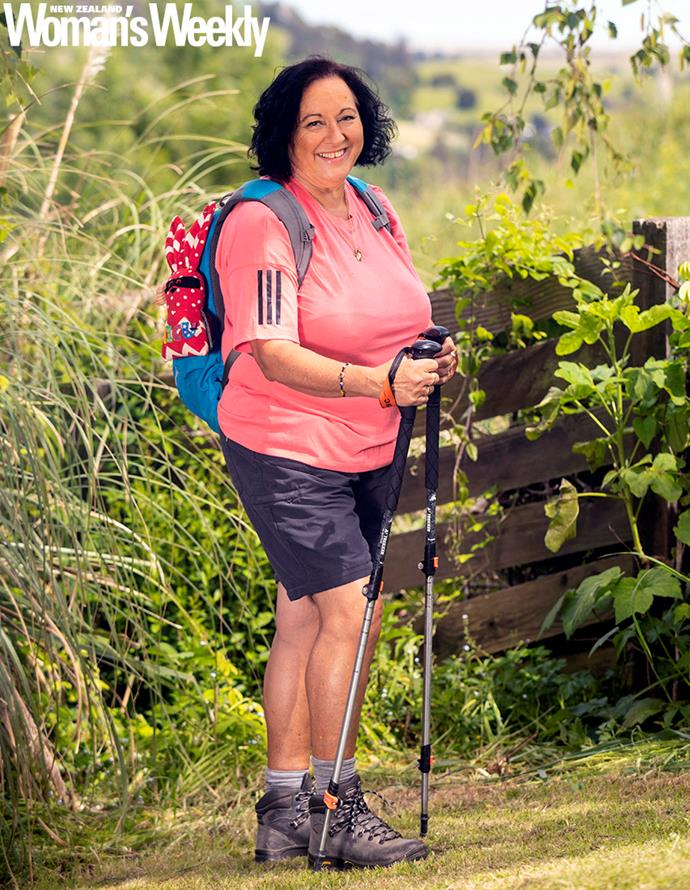 A double knee replacement didn't slow Terry down, but she was thankful for her walking poles!