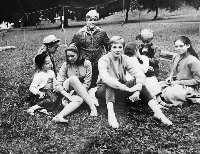 Julie (centre) on the set of *The Sound of Music*.