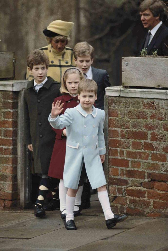 Five-year-old Prince William leads the charge on Christmas Day in 1987, followed by his cousins Zara Phillips, Lord Frederick Windsor, Peter Phillips and his mother Princess Diana. *(Image: Getty)*