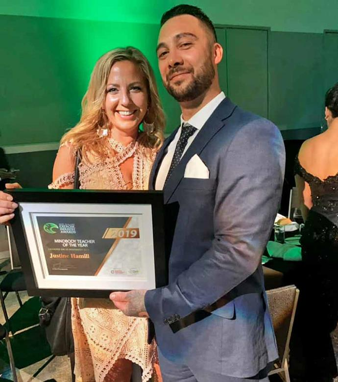 Proud of his girl! Justine won 2019's Yoga and Mind Body Instructor of the Year.