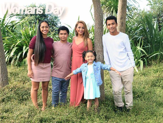 With her kids (from left) Te Aomihia, Nikau, Ngarongokahira and Paetawhiti.