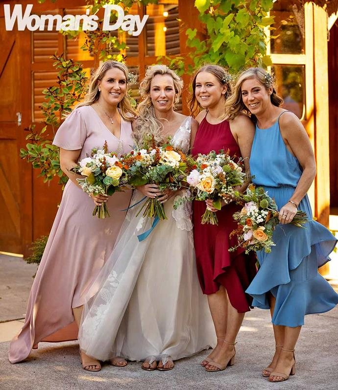 Brittnea with bridesmaids (from left) Anke O'Kane, Nicole Kato and Kirsten Ellis.