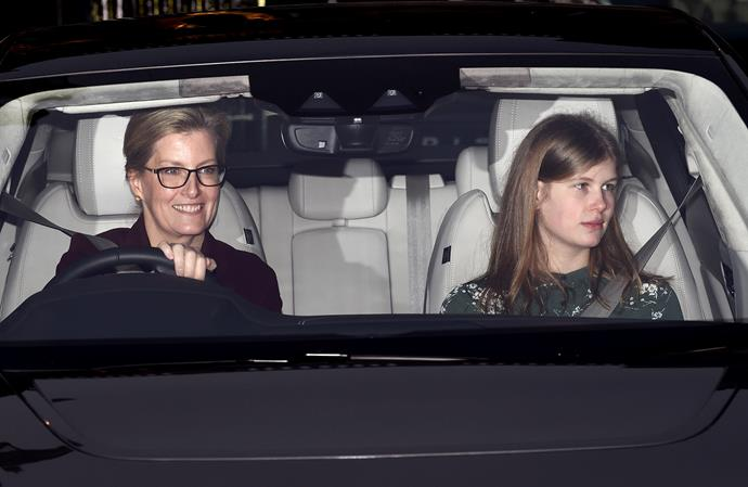 Countess Sophie and Lady Louise arrived together, while Prince Edward and James Viscount Severn arrived in a separate car. *(Image: Getty)*