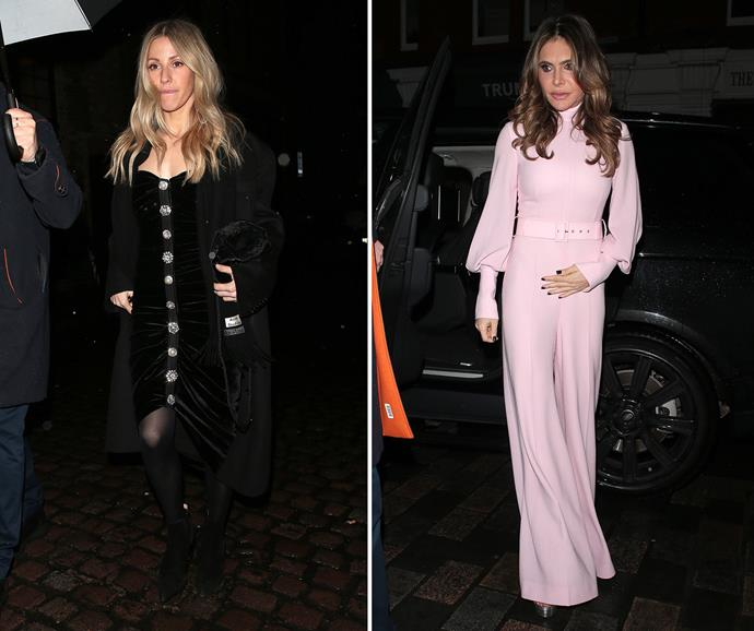Ellie Goulding and Ayda Field arriving at Princess Bea and Edoardo's engagement party. *(Images: Getty)*
