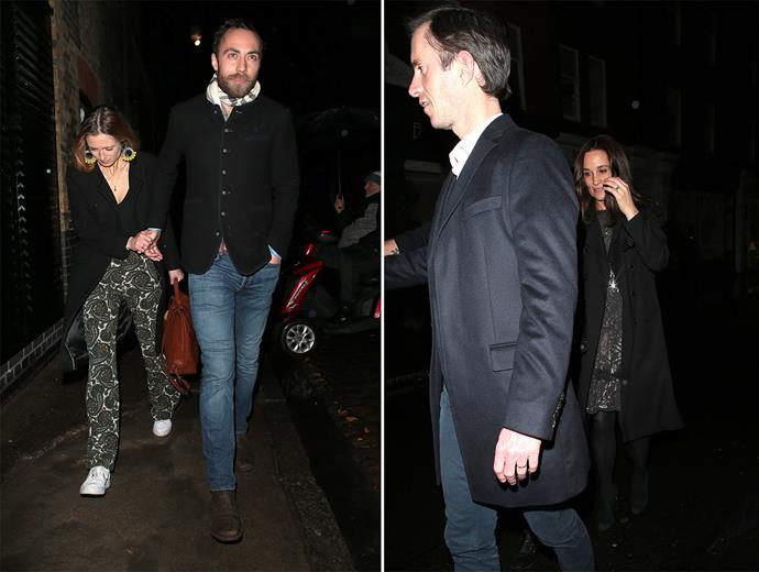 James Middleton arrives with his fiancee Alizee, while Pippa Middleton arrives with her husband James. *(Images: Getty)*