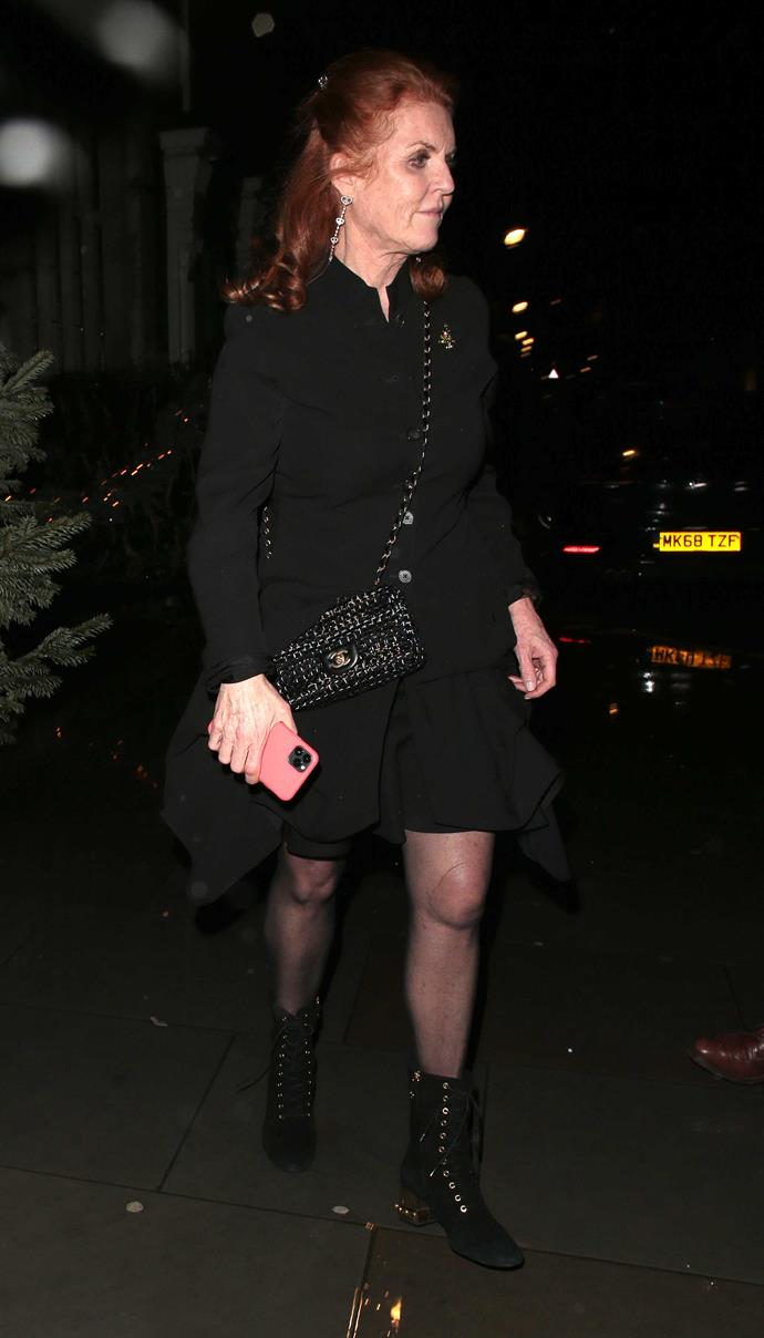 Sarah Ferguson wore an all-black ensemble to her eldest daughter's engagement party. *(Image: Getty)*