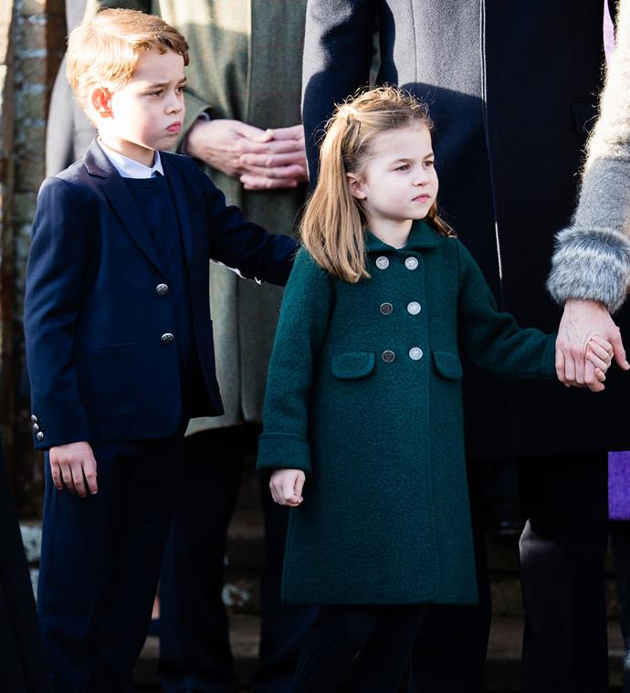 Prince George and Princess Charlotte joined the rest of the royal family for the iconic Christmas Day walk. *(Image: Getty)*